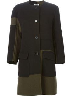 однобортное пальто с контрастными панелями Jil Sander