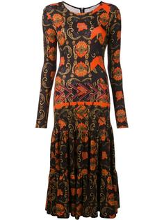 printed pleated long dress Preen By Thornton Bregazzi