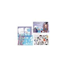 """Альбом для творчества """"Мода"""", с трафаретами и наклейками со стразами Tukzar"""