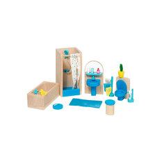 Мебель для кукольной ванной комнаты синяя GOKI
