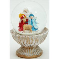 """Новогодняя фигурка """"Дед мороз, снегурочка и олень"""" (9*9*12,3см, из полирезины с водяным шаром из стекла) Феникс Презент"""