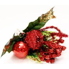 """Украшение новогоднее """"Букет"""" красный с золотым из пвх на клипсе Феникс Презент"""
