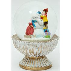"""Новогодняя фигурка """"Мальчик со снеговиком"""" (9*9*12,3см, из полирезины с водяным шаром из стекла) Феникс Презент"""