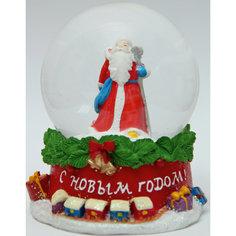 """Новогодняя фигурка """"Дед мороз с посохом"""" (7,5*7,5*8,4см, из полирезины с водяным шаром из стекла) Феникс Презент"""