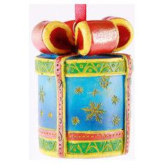 """Новогоднее подвесное украшение """"Подарок"""" (4,8*4,8*6,2 см, из полирезины) Феникс Презент"""
