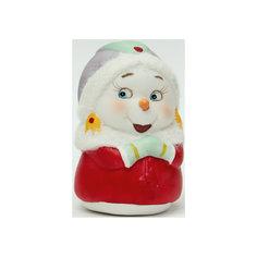 """Новогодняя фигурка снеговика """"Снеговик-девушка""""  (8см, керамика) Феникс Презент"""