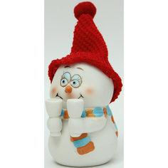 "Новогодняя фигурка снеговика ""Снеговик с бокалами"" (8см, керамика) Феникс Презент"