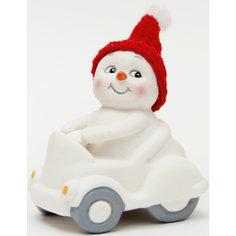 "Новогодняя фигурка снеговика ""Снеговик в машине""  (8см, керамика) Феникс Презент"