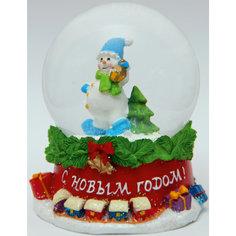 """Новогодняя фигурка """"Снеговик с фонарем"""" (7,5*7,5*8,4см, из полирезины с водяным шаром из стекла) Феникс Презент"""