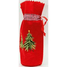 """Новогодний мешочек для подарка """"Елочки"""" (15*28,5см, из синтетического фетра) Феникс Презент"""