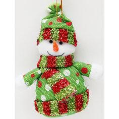 """Украшение новогоднее подвесное """"Снеговик в зеленый горошек"""" Феникс Презент"""