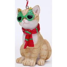 """Украшение новогоднее подвесное """"Кот в шарфике"""" из полирезины  (5х4,5х8,5) Феникс Презент"""