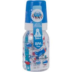 Бутылочка тритановая (BPA 0%) с сил. соской, 120 мл. 3+ Machines, Canpol Babies, синий