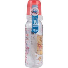 Бутылочка тритановая (BPA 0%) с сил. соской, 250 мл. 12+ Cheerful animals, Canpol Babies, мишка