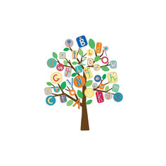 Наклейки для декора Дерево-алфавит, RoomMates