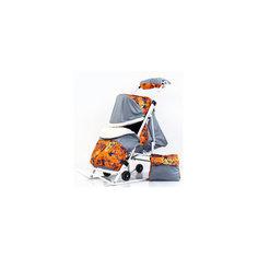 Санки-коляска Пушок К, оранжевый/черный