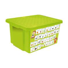 """Ящик для хранения игрушек """"X-BOX"""" """"Обучайка"""" Азбука 17л, Little Angel, салатовый"""