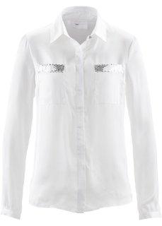Блузка с пайетками (черный/серебристый) Bonprix