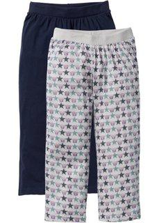 Трикотажные брюки-капри (2 шт.) (светло-серый меланж/темно-крас) Bonprix