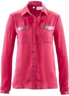 Блузка с пайетками (цвет белой шерсти/серебристый) Bonprix