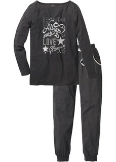 Пижама (лиловый меланж/серебристый с п) Bonprix