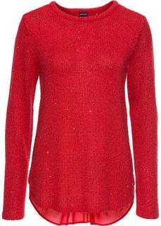 Пуловер с пайетками и со вставкой (кремовый) Bonprix