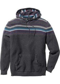 Пуловер Regular Fit с капюшоном (темно-красный) Bonprix