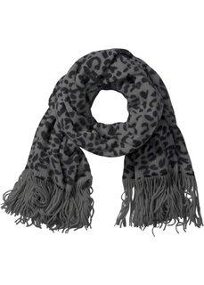 Шарф с леопардовым узором (черный/серый) Bonprix