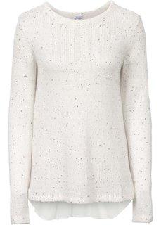 Пуловер с пайетками и со вставкой (красный) Bonprix