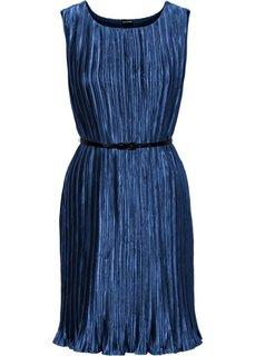 Плиссированное платье + ремень (2 изд.) (ягодный) Bonprix