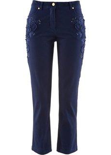 Стрейтчевые брюки 7/8 с вышивкой (белый) Bonprix