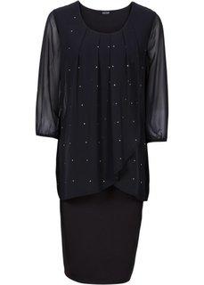 Трикотажное платье с рукавом 3/4 и шифоновой отделкой (клубничный) Bonprix