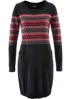 Вязаное платье (красный с узором) Bonprix