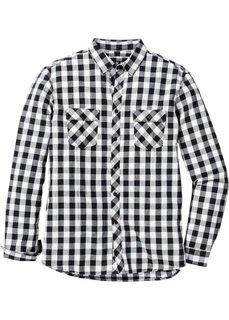 Рубашка Regular Fit с длинным рукавом (серый в клетку) Bonprix