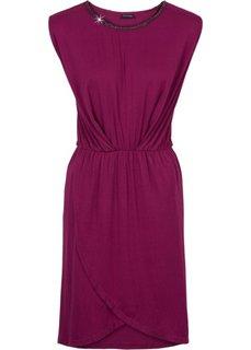 Трикотажное платье с цепочкой-аппликацией (синий) Bonprix