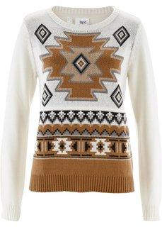 Пуловер с узором (цвет белой шерсти с узором) Bonprix