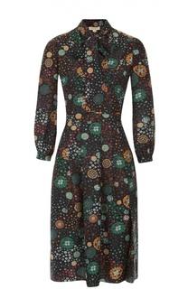 Шелковое приталенное платье с воротником аскот Burberry Brit