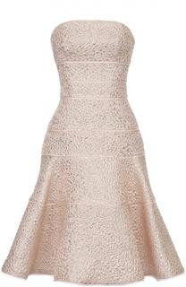 Расклешенное платье-бюстье с металлизированной отделкой Oscar de la Renta