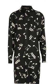 Платье-рубашка прямого кроя с контрастным принтом Saint Laurent