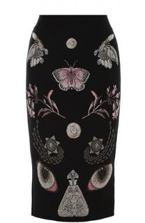 Вязаная юбка-карандаш с контрастными принтом Alexander McQueen