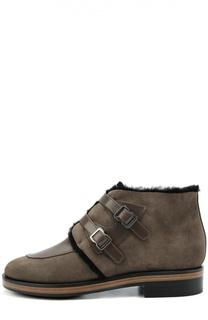 Замшевые ботинки с ремешками из кожи Giorgio Armani