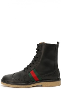 Кожаные ботинки с брогированием Gucci