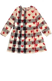 Платье в клетку с принтом в виде сердец Burberry
