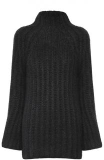 Удлиненный шелковый свитер фактурной вязки Valentino