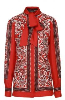 Шелковая блуза прямого кроя с воротником аскот Alexander McQueen