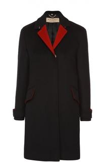 Шерстяное пальто прямого кроя с контрастными лацканами Burberry