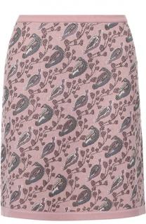 Вязаная мини-юбка с принтом в виде птиц Tak.Ori