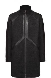 Шерстяное пальто на молнии с воротником-стойкой Dirk Bikkembergs
