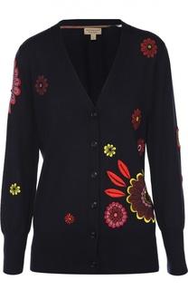 Кардиган с контрастной цветочной вышивкой и V-образным вырезом Burberry Brit