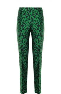 Укороченные брюки прямого кроя с контрастным принтом Oscar de la Renta